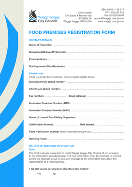 Food premises registration form - Wagga Wagga City Council