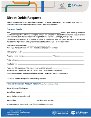 sa water direct debit form