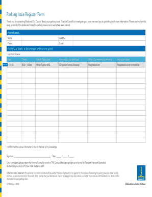 bcc parking issue register form