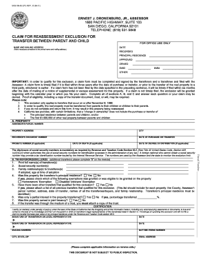 Fillable Online Parent/Child Exclusion From Reappraisal Form ...