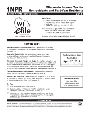 2015 i-152 form 1npr instructions wisconsin income tax for.
