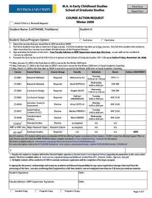 ECS Course Action Form