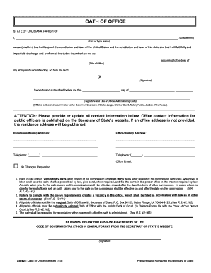 Generic Oath Of Office Form  Oath Of Office Template
