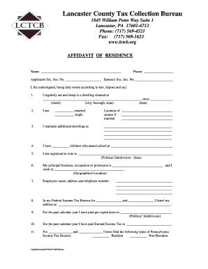 Residency Affidavit Form Lancaster Pa - Fill Online, Printable ...