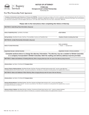 Form 3(N), Notice of Attorney - BC Registry Services - bcregistryservices gov bc