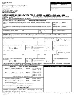 Fillable Online dleg state mi Broker License Application ...