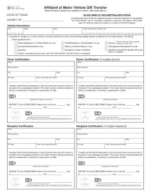 Fillable online form 14 317 affidavit of motor vehicle for Texas affidavit of heirship for a motor vehicle