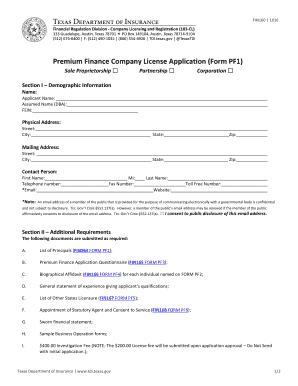 Fillable Online tdi texas Premium Finance Form FIN160