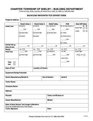 Charter township of shelby backflw preventer test report for Test charter template