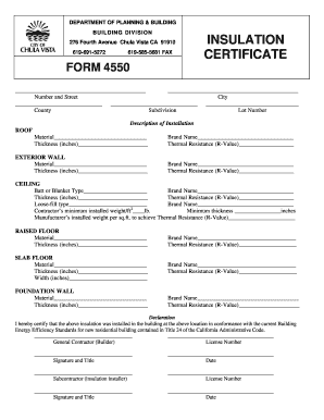 Insulation Certificate Fill Online Printable Fillable Blank