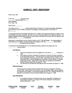 Sample ospi response - Office of Superintendent of Public Instruction