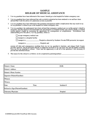 Against Medical Advice Form Fill Online Printable Fillable . Ama Form