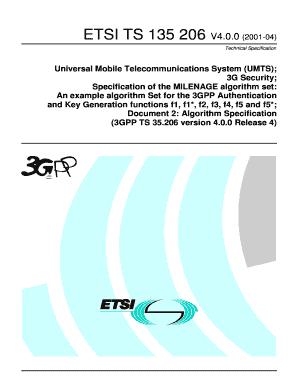 Fillable Online etsi TS 135 206 - V4 0 0 - Universal Mobile