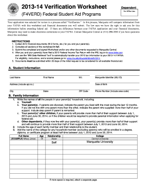 fillable online marquette 2013 14 verification worksheet dependent marquette university. Black Bedroom Furniture Sets. Home Design Ideas