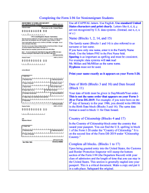 Completing the Form I-94 for Nonimmigrant Students Name (Blocks ... - international syr