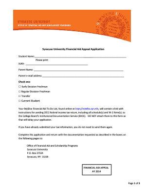 Syracuse University Financial Aid Appeal Application Current Student - syr