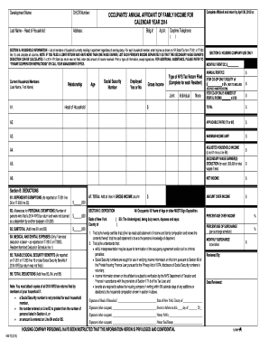 Occupants Annual Affidavit of Family Income for Calendar Year 2014 and Instructions - nyshcr