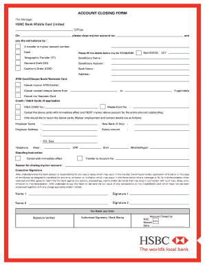 Account Close Application Hsbc India - Fill Online, Printable