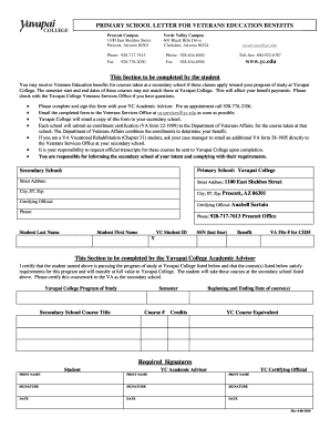 Fillable Online yc Parent School Letter VA Form 315 - Yavapai ...