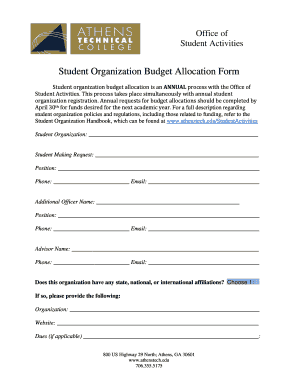 Student Organization Budget Allocation Form - Athens Technical ... - athenstech