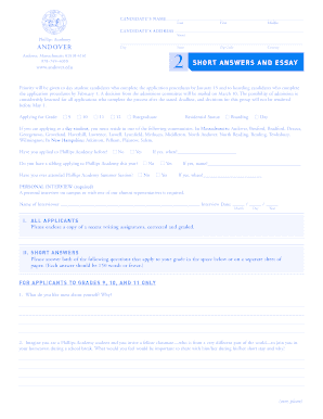 phillips andover short answers and essay form