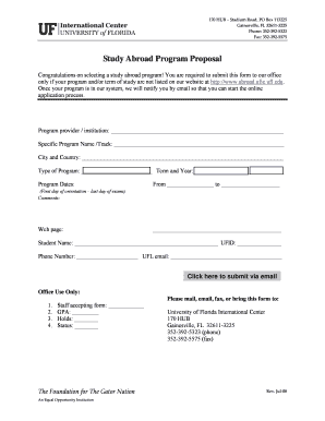 Program Proposal Form   University Of Florida International Center   Ufic  Ufl