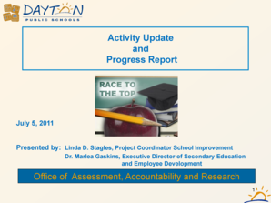 Activity Update and Progress Report Office of Assessment bb