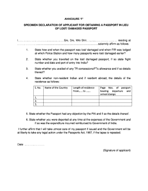 SPECIMEN DECLARATION OF APPLICANT FOR OBTAINING A PASSPORT IN LIEU