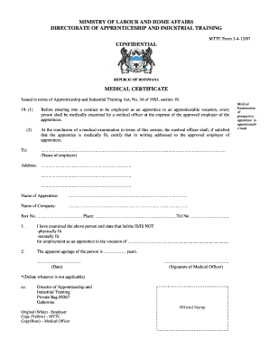 MTTC Medical Form Certificate - gov