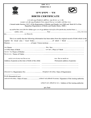 Karnataka birth fill online printable fillable blank pdffiller form 5 birth certificate yelopaper Gallery