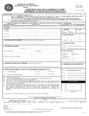 Fillable Online Certificate of Candidacy for Sangguniang Barangay