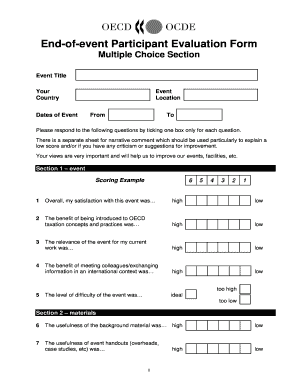 Fillable Online oecd End-of-event Participant Evaluation Form ...
