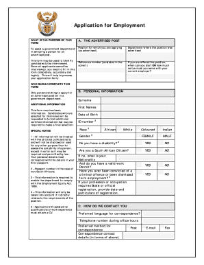 Application for Employment form (Z83)