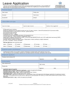 Leave Application Form - University of Canberra