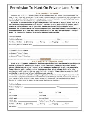 Maryland Hunting Permission Slip Fill Online Printable