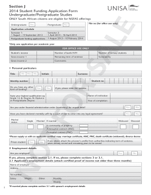 unisa nsfas application form printout