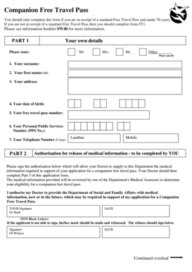 Travel Companion Pass Application Form Fill Online Printable Fillable Blank Pdffiller