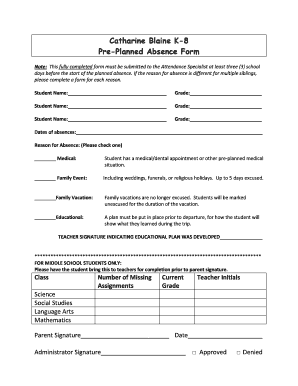 Pre Planned Absence Form For School - Fill Online, Printable ...
