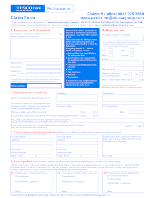 tesco pet insurance claim form   fill online printable