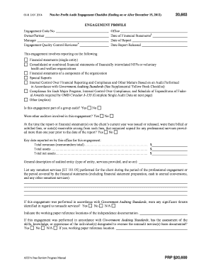Section 20,600 Not-for-Profit Audit Engagement Checklist (For ...
