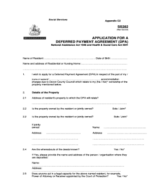 Deferred Payment Agreement Application Form SS282
