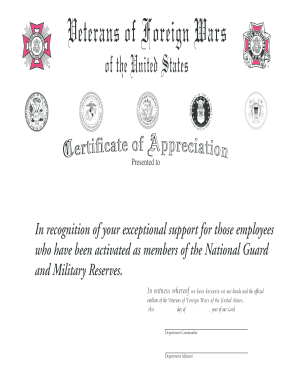 Certificate of Appreciation - VFW - vfw