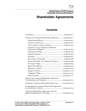 Fillable Shareholder Agreement Checklist Canada Edit Print