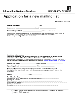 BApplicationb for a new mailing list - ISS
