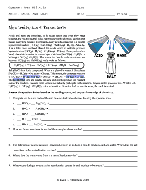 Chemistry Form Ws941a Neutralization Reactions Answers Fill Online