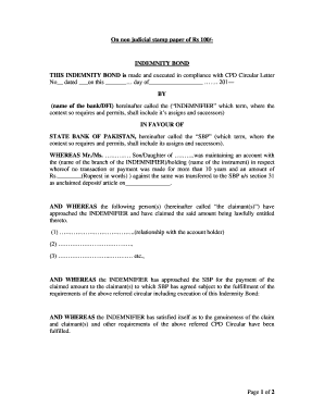 Indemnity Form State Bank Of Pakistan - Fill Online, Printable ...