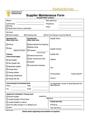 Fillable Online finance gov sk Supplier Maintenance Form ...