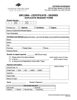 Diploma - certificate - degree duplicate request form - viu