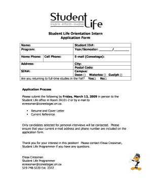 Fillable Online Student Life Orientation Intern Application Form ...