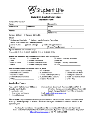 Fillable Online Student Life Graphic Design Intern Application ...